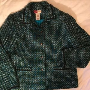 JM Collection turquoise, moss boucle tweed jacket